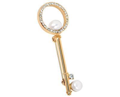 Brošňa Kľúč s pravou perlou a kryštály JL0386