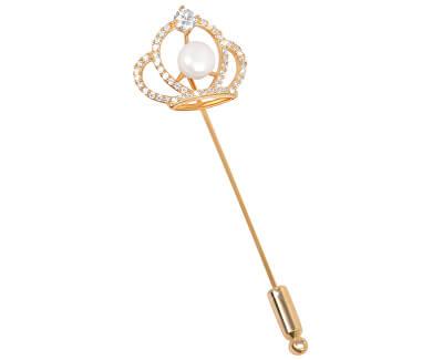 Brošňa Kráľovská koruna s pravou perlou a kryštály JL0387
