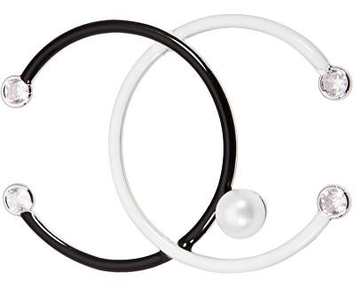Čiernobiela brošňa s kryštálmi a pravou perlou JL0447