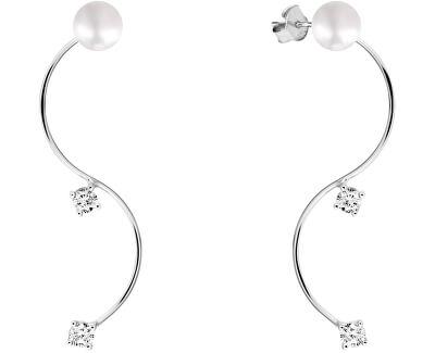 Módní perlové náušnice s krystaly 2v1 JL0589