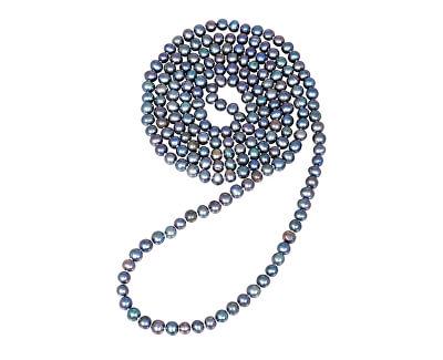 Dlouhý náhrdelník z pravých modrých perel JL0531