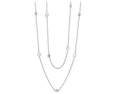 Dlouhý náhrdelník z pravých perel a krystalů JL0424