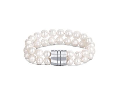 Dvojitý náramek z pravých bílých perel JL0598