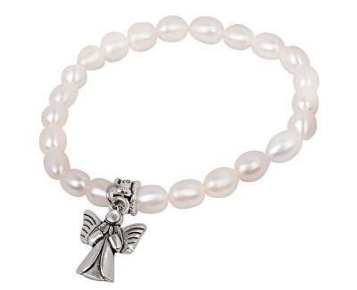 Jemný náramek z pravých perel s kovovým andělíčkem JL0418