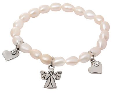 JwL Luxury Pearls Jemný náramek z pravých perel s přívěsky JL0419