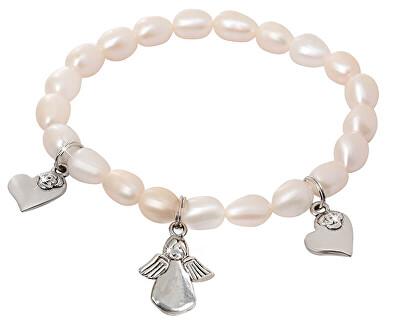 Jemný náramek z pravých perel s přívěsky JL0419