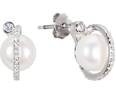 Stříbrné náušnice s pravou perlou JL0466