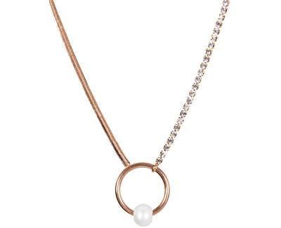 Třpytivý růžově zlacený náhrdelník s pravou perlou JL0474CH