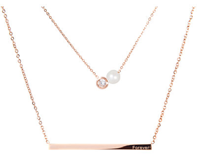 Vrstvený ocelový náhrdelník s pravou perlou a krystalem JL0478CH - SLEVA