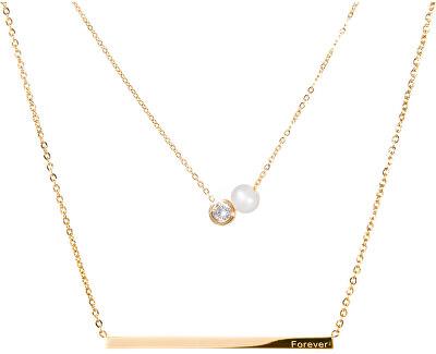 Vrstvený ocelový náhrdelník s pravou perlou a krystalem JL0479CH