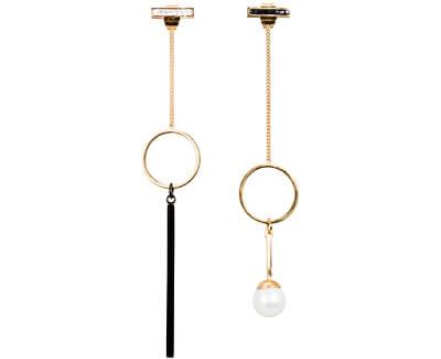 Zlacené asymetrické náušnice s pravou perlou JL0483CH