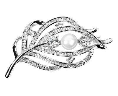 Kouzelná brož peříčko s pravou perlou a krystaly JL0517