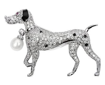 Krásna brošňa psík s pravou perlou a kryštály JL0529