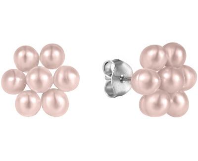 Kytičkové náušnice z pravých růžových perel JL0579