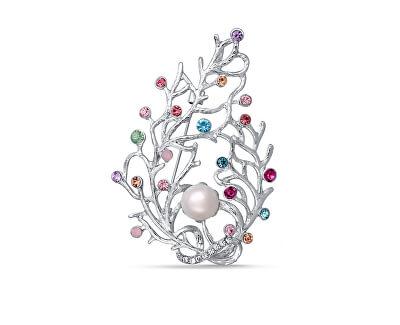 Luxusní brož 2v1 s pravou perlou a barevnými krystaly JL0389