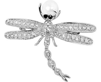 Nádherná brošňa Vážka 2v1 s pravou perlou JL0383