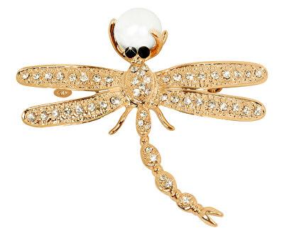 Nádherná pozlacená brož Vážka 2v1 s pravou perlou JL0384