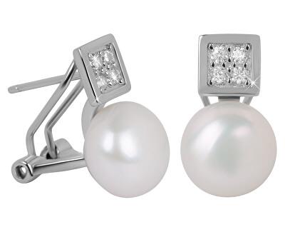 Nádherné náušnice s pravou perlou a krystaly JL0430