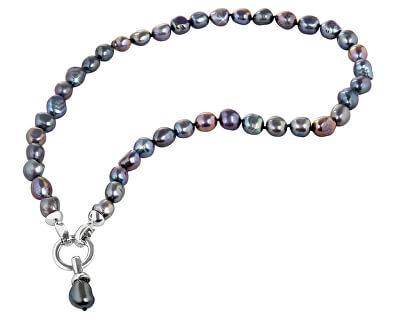 Colier din perle albastre metalice reale JL0561