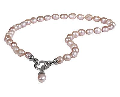 Náhrdelník z pravých růžových perel JL0555