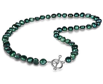 Náhrdelník z pravých smaragdově zelených perel JL0366