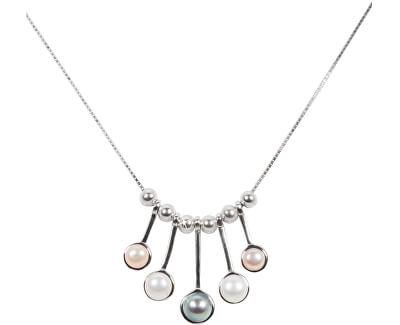 Něžný stříbrný náhrdelník s pravými perličkami JL0459 (řetízek, přívěsek)