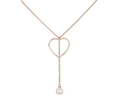Ocelový náhrdelník se srdíčkem a pravou perlou JL0472CH