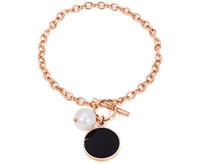 Ocelový náramek s pravou perlou JL0481CH