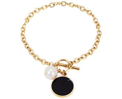Ocelový náramek s pravou perlou JL0482CH