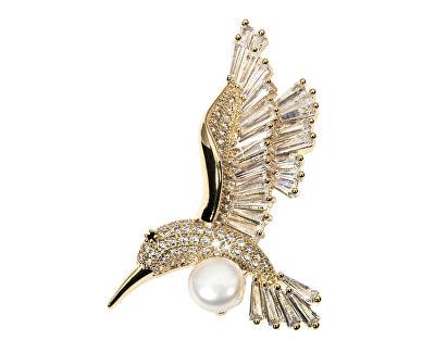 Očarujúce pozlátená brošňa kolibrík s pravou perlou 2v1 JL0516