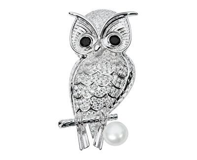 Krásna brošňa sova s pravou perlou a kryštály JL0508