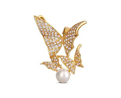 Prekrásna pozlátená brošňa s pravou perlou - motýle JL0630