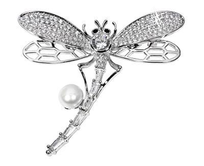Rozkošná brošňa vážka s pravou perlou JL0514