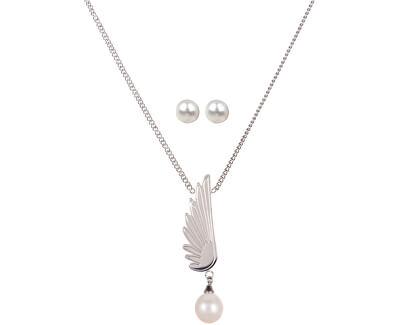JwL Luxury Pearls Set náhrdelníku Andělské křídlo a náušnic s pravými perlami JL0468CH