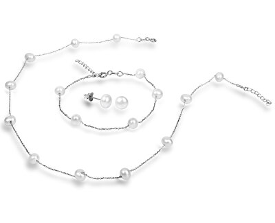 JwL Luxury Pearls Souprava náhrdelníku a náušnic s pravými perlami JL0372