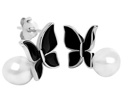 Stříbrné náušnice Motýlci s pravou perlou JL0371