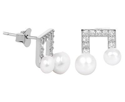 Stříbrné náušnice Noty s pravou perlou a zirkony JL0414