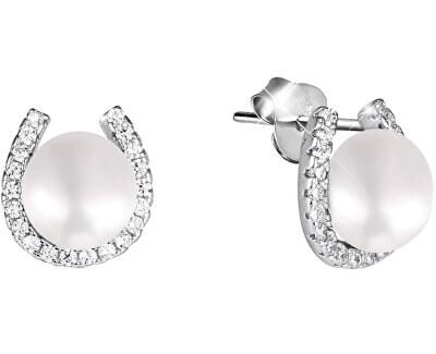 Stříbrné náušnice podkova s pravou perlou a zirkony JL0585