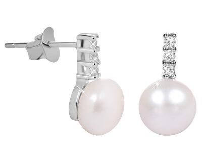 Stříbrné náušnice s perlou a zirkony JL0406