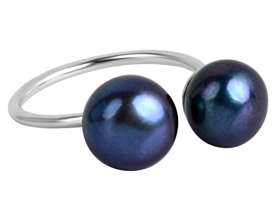 JwL Luxury Pearls Stříbrný prsten s modrou dvojperlou JL0433