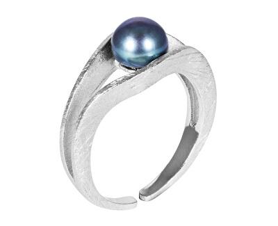 Strieborný prsteň s modrou perlou JL0541