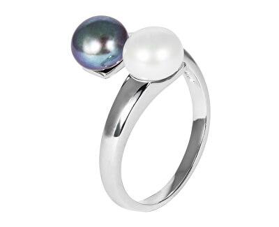 Strieborný prsteň s pravými perlami JL0546