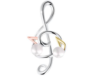 Tricolor brož houslový klíč s notami s pravou perlou 2v1 JL0575
