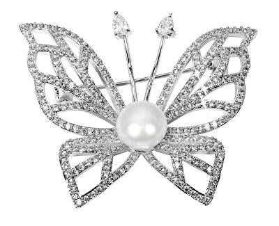 Trblietavá brošňa motýľ s pravou perlou a kryštály JL0507