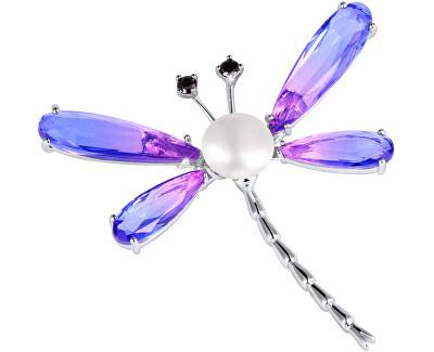 Úchvatná brož vážka s perlou a krystaly JL0576