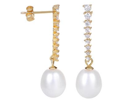 Zlacené perlové náušnice s krystaly JL0405