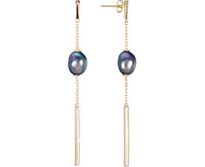Zlacené stříbrné náušnice s pravou modrou perlou JL0463