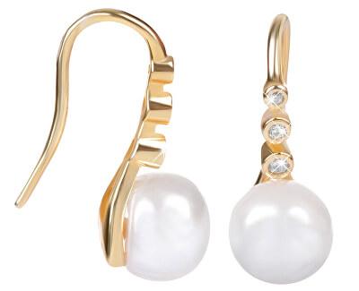 Zlacené stříbrné visací náušnice s pravou perlou JL0411