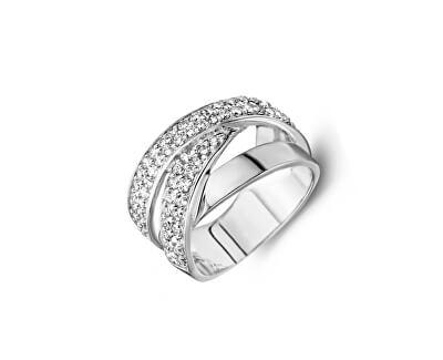 Luxusní stříbrný prsten s třpytivými zirkony SVLR0259XH2BI