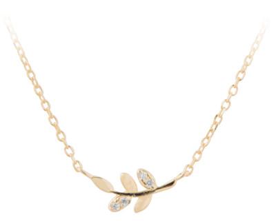 Pozlacený náhrdelník s lístečky SVLN0129XD5G042